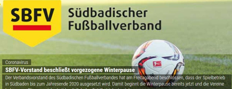 SBFV-Vorstand beschließt vorgezogene Winterpause